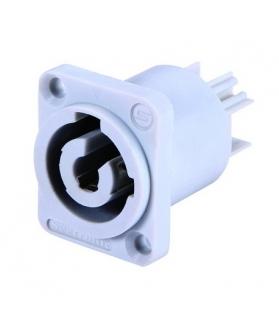 Conector powercon macho p/chasis blanco SAC3MPB