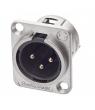 Conector XLR3 macho para chasis J3F2C