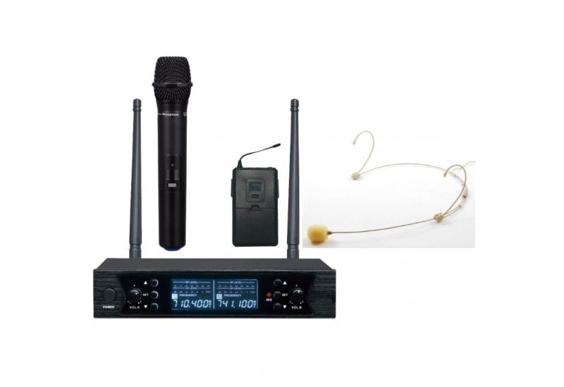Micrófono inalámbrico Ross UHF doble Mano+Vincha